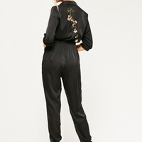 Missguided - Black Embroidered Back Satin Jumpsuit