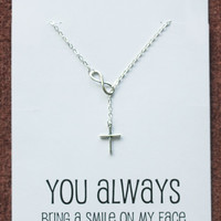 You always bring a smile Gift Card Alloy Silver Toned Cross Pendant Necklace