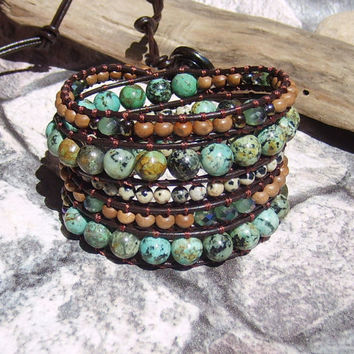 Leather Wrap Bracelet Boho Wrap Bracelet African Turquoise Bohemian Jewelry Southwest Bracelet Green Beaded Bracelet Leather Jewelry