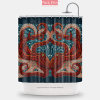 Mosaic Art Octopus Shower Curtain Free shipping Home & Living Bathroom 050