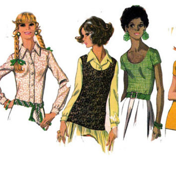 1960s Womens Blouses Shirts McCalls 2213 Vintage Sewing Pattern Size 16 Bust 38 UNCUT FF
