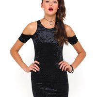Motel Carey Cut Out Bodycon Dress in Crushed Velvet Black