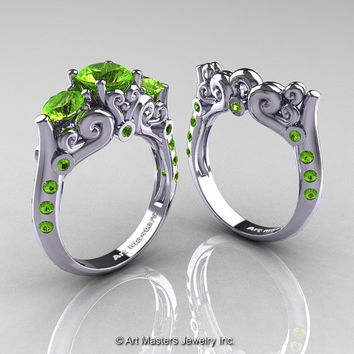 Art Masters 10K White Gold Three Stone Peridot Modern Antique Wedding Ring Set R515S-14KWGP