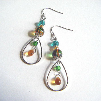 Green and orange earrings with silver plated teardrop hoop, green and orange earrings, gift for her, gift under 10, handmade jewelry.