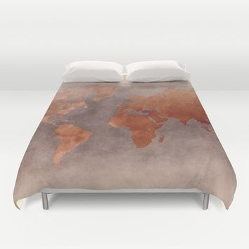 World map 7 brown Duvet Cover by jbjart