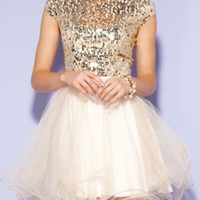 Golden Sequined Tulle Panel Homecoming Dress