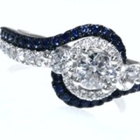Vera Wang LOVE Collection 1-1/5 CT. T.W. Diamond and Blue Sapphire Three Stone Swirl Ring in 14K White Gold
