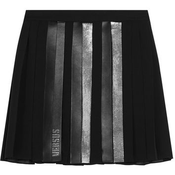 Versus Versace - Faux leather-trimmed embellished pleated chiffon mini skirt