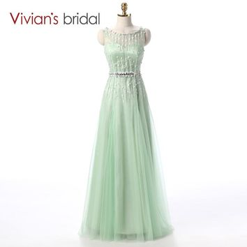 Vivian's Bridal Mint Green A Line Evening Dress Sequin Beadings Formal Evening Gown Party Gown vestido de festa