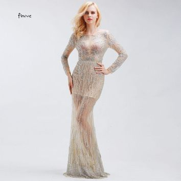 Celebrity Dresses Luxury Crystal Beading Long Sleeve Sexy Formal Evening Party Gowns Dresses