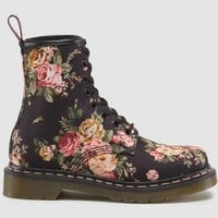 Dr Martens 1460 WOMENS BLACK VICTORIAN FLOWERS - Doc Martens Boots and Shoes