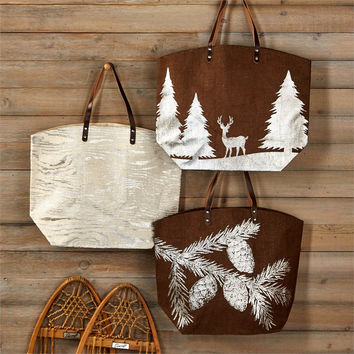 Two's Company Wilderness Lake & Lodge Jute Tote Bag Set (3 Bags)