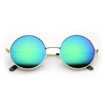 Retro Hippie Round Flash Mirror Lens Metal Sunglasses