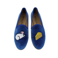 Del Toro Womens Mouse And Cheese Velvet Embroidered Smoking Loafers