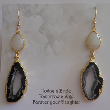 Mother of Bride Gift,Black Geode Earrings,Wedding Earrings,Gold Moonstone Earrings,Mothers Earrings,Gemstone Earrings, Statement Jewelry