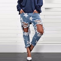 """Women""""s Star Printed Torn Loose Fit Jeans"""