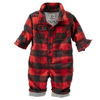 OshKosh B'gosh Buffalo Check Coveralls - Baby Boy, Size:
