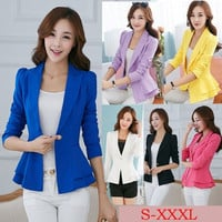 2014 Fashion Women Spring Suit Blazers Female Blazer Korean Plus Size Candy Color Leisure Style Full Casual blazer