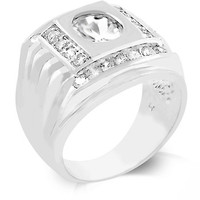 Mens CZ Square Ring