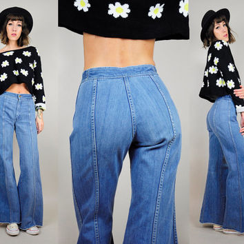 HIGH WAIST vtg 70's Bell bottom Seamed flared JEANS faded hippie gypsy bohemian frayed xs