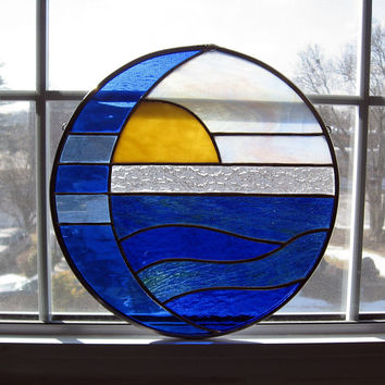 Moon and Sun Over Water Round Stained Glass Panel / Suncatcher - Blue Serenity
