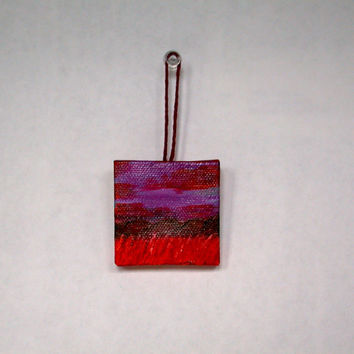 Red Sunset Landscape, Miniature Painting, Wine Bottle Decoration, Miniature Landscape, Landscape Painting