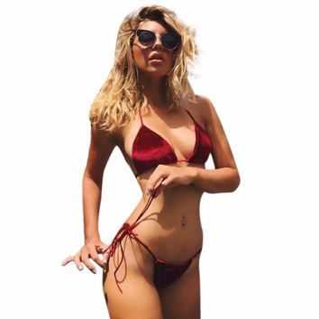 2 Colors Women Sandy Beach Bra Sexy Vintage Bikini Split Swimsuit Beach Beach Two-Piece Swimsuit