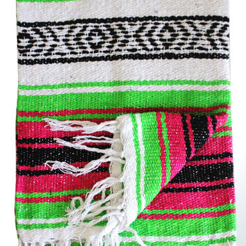 HOT PINK and LIME Mexican Blanket Beach Yoga Blanket Vintage Style