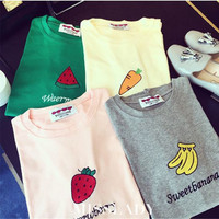 European Women's T Shirt Women Tops Loose Cute Fruit Print