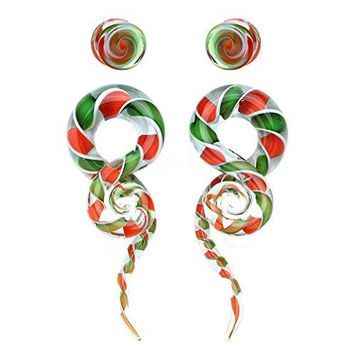 BodyJ4You Glass Gauges Kit Twisted Ear Tapers Plugs Candy Cane Swirl 2G 6mm Piercing Jewelry