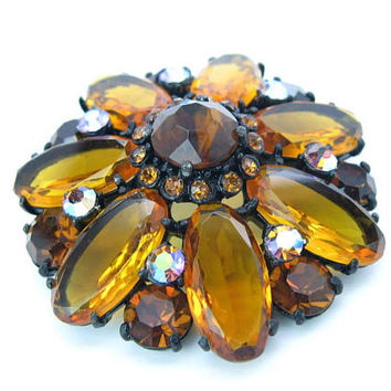 Fabulous Large Rhinestone Crystal Brooch Amber Topaz Glass Aurora Borealis AB Brown Eyed Susan Flower Power Vintage 1950s Summer Fashion