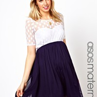 ASOS Maternity Skater Dress With Contrast Spot Mesh