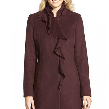 Ruffle Fornt Wool Blend Coat (Regular & Petite)