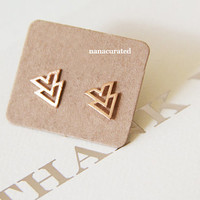 Chevron Arrow Tiny Rose Gold Plated Studs,  Stud Post Earrings, Elegant Earrings, StudsTriangle Jewelry, Minimal, Hipster Tiny Pendant Studs
