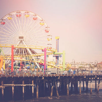 Retro Santa Monica Pier Beach Photography Light Leak Summer Home Decor Print California Los Angeles Downtown Loft Wall Art