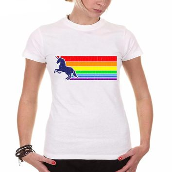 Women Summer Novelty 80s Vintage Rainbow  Design T shirt Unicorn Printed