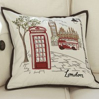 London Embroidered Pillow Cover | Pottery Barn