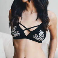 Cross Front Embroidered Bralette