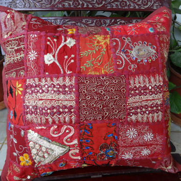 """Set of 5 vintage Patchwork Cushion Covers, Decorative Cushions India, Sixe  16"""" x 16"""" , Old sari patch outdoor handmade cushion"""