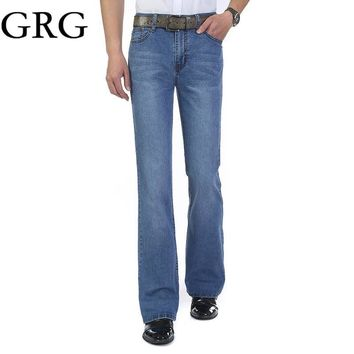 Free Shipping Spring and autumn male bell-bottom jeans Men's elastic Mid High Waist bo