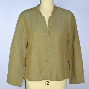 Eileen Fisher Linen Blend Blazer Jacket Tan/Gold Medium