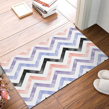 Autumn Fall welcome door mat doormat Watercolor Chevron Waves Black White Pink Purple s Kitchen Floor Bath Entrance Rug Mat Absorbent Indoor Bathroom Rubber AT_76_7