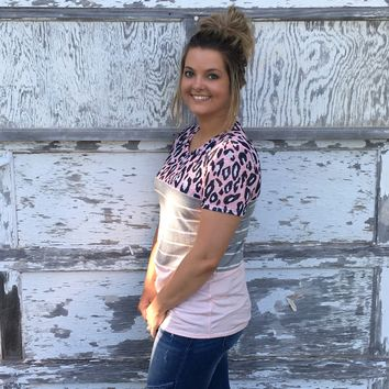 Animal print striped color block shirt