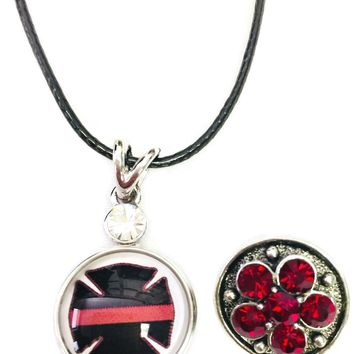 "Fire Department Shield Firefighter Thin Red Line Snap on 18"" Leather Rope Diamond Pendant Necklace W/ Extra 18MM - 20MM Snap Charm"