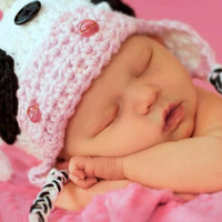 Crochet Photo Prop Cow Hat and Diaper Cover Infant Newborn Baby Girl