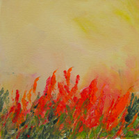 Indian Paintbrush Wildflower Floral Landscape Original monotype hand pulled print painting with Mat.