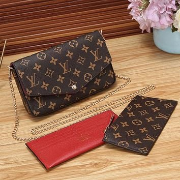 Louis Vuitton LV Women Fashion Leather Chain Satchel Crossbody Shoulder Bag Set Three Piece