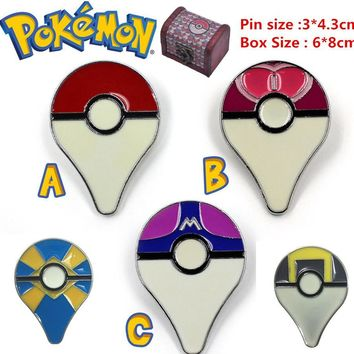 Go alloy poke ball pin badge brooch set in wooden box cosplay costumes accessoriesKawaii Pokemon go  AT_89_9