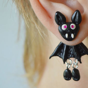 Little black bat front back earrings,Halloween Earrings,double sided earring,faux gauge,dangling earrings,unusual ear jackets,two part stud