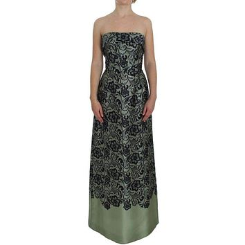 Dolce & Gabbana Green Floral Lace Silk Corset Maxi Dress